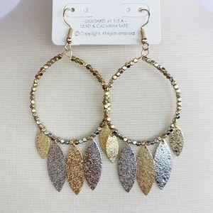 Gold And silver Teardrop Earrings